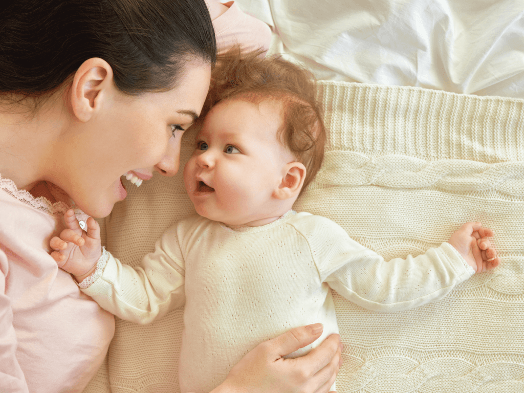 A baby flourishes under the mother's constant care and attention.