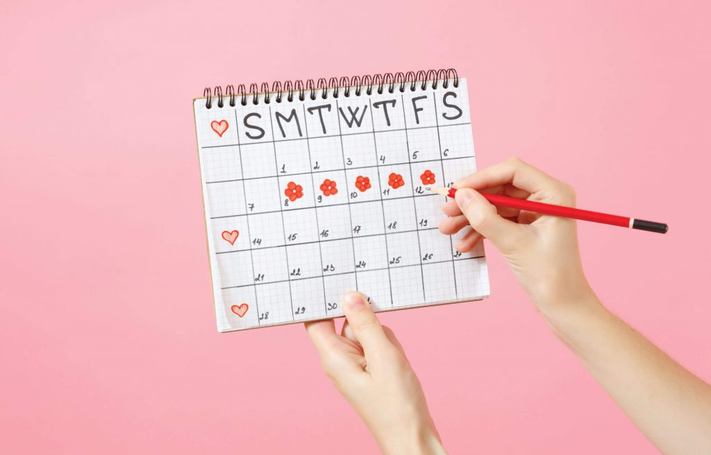 The usual 28 days menstrual is disrupted in PCOS due to hormone problems.