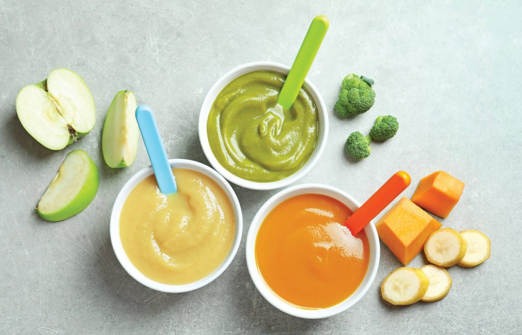 Different vegetable purees as baby solid food